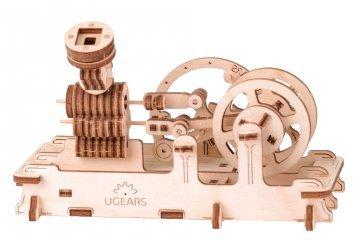 UGears Mechanical Wooden Model 3D Puzzle Kit Pneumatic Engine