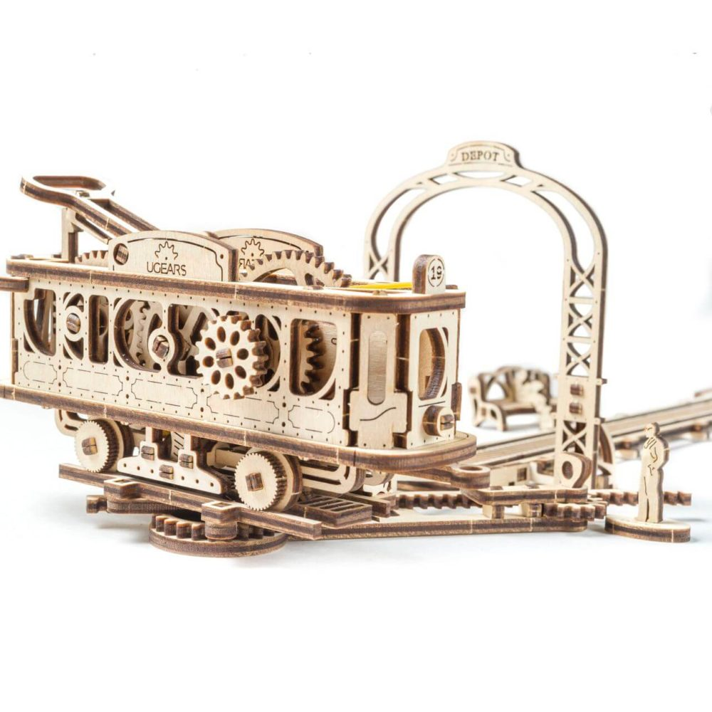 UGears Mechanical Wooden Model 3D Puzzle Kit Tram Line Model