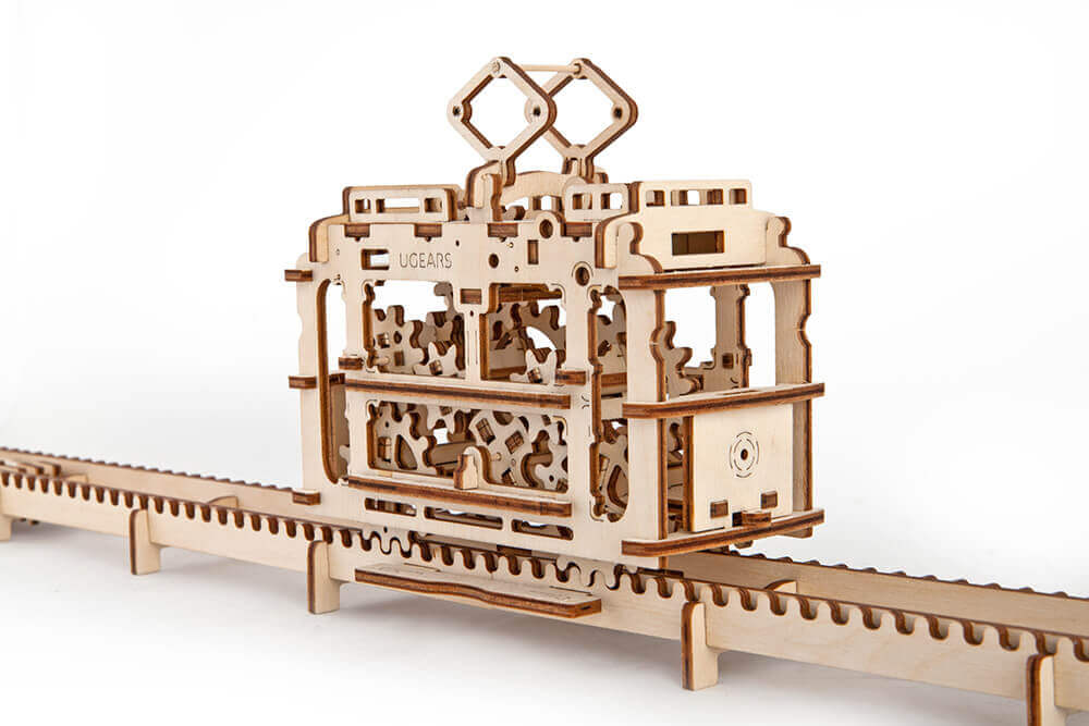 UGears Mechanical Wooden Model 3D Puzzle Kit Tram On Rails