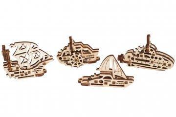 UGears Mechanical Wooden Model 3D Puzzle Kit U-Fidgets-Tribiks Ships