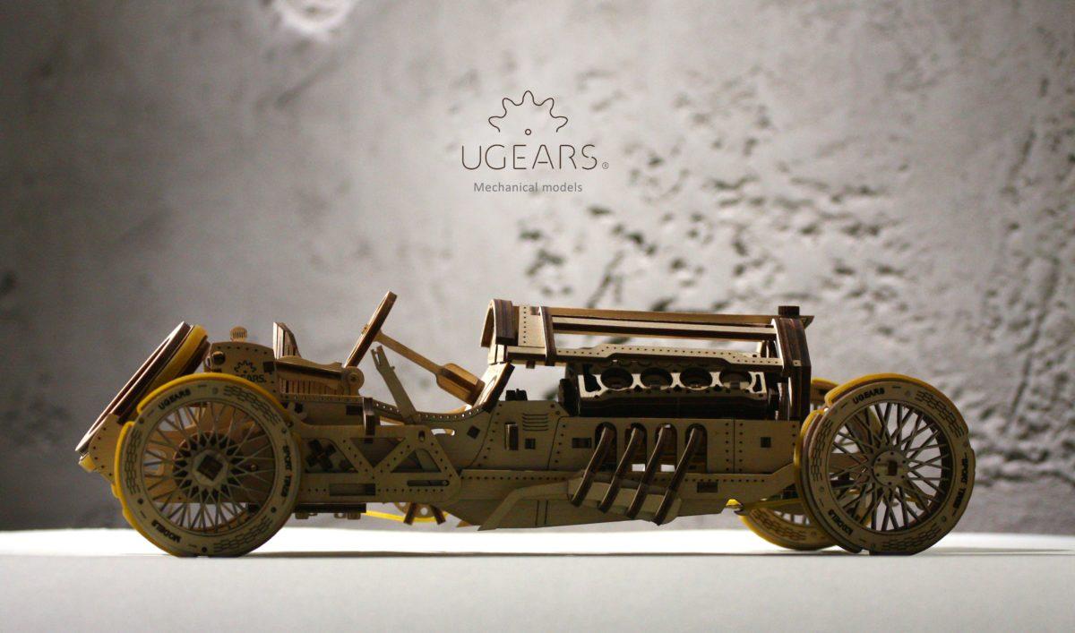 UGears U-9 Grand Prix Car Model - Mechanical 3D Puzzle