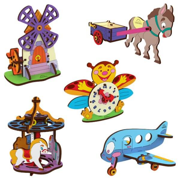 UGears Mechanical Wooden Model 3D Puzzle Kit Clock, Donkey, Merry-go-Round, Biplane and Mill