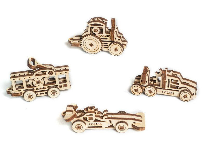 UGears Mechanical Wooden Model 3D Puzzle Kit U-Fidgets-Tribiks Vehicles