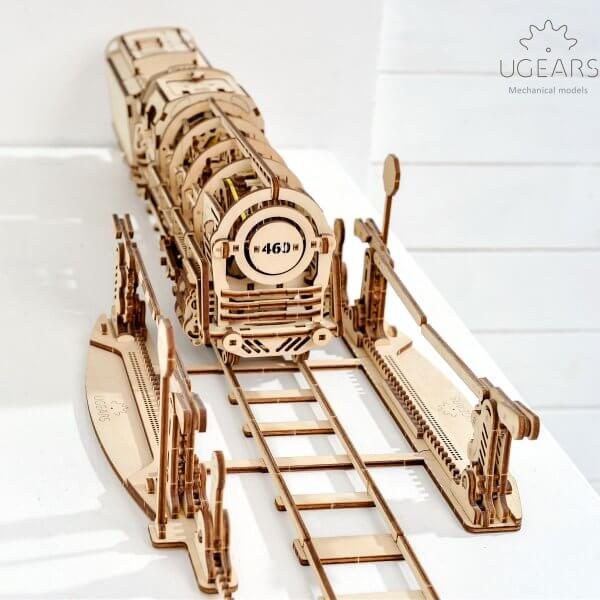 UGears Mechanical Wooden Model 3D Puzzle Kit Locomotive and Rails