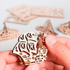 UGears Mechanical Wooden Model 3D Puzzle Kit Airplane, Kitten, Steamboat, Sailboat, Locomotive