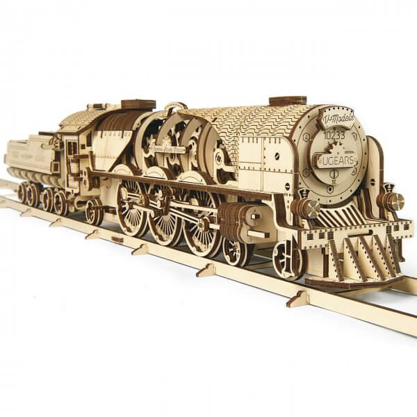 UGears Mechanical Wooden Model 3D Puzzle Kit V-Express Steam Train with Tender