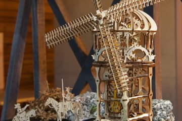 UGears Mechanical Wooden Model 3D Puzzle Kit Tower Windmill