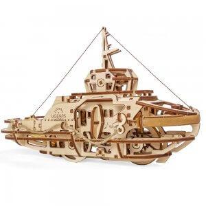 UGears Mechanical Wooden Model 3D Puzzle Kit Tugboat