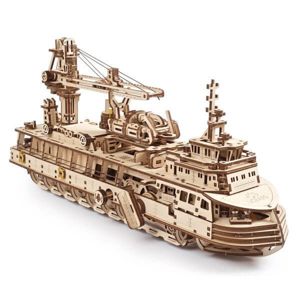 UGears Mechanical Wooden Model 3D Puzzle Kit Research Vessel