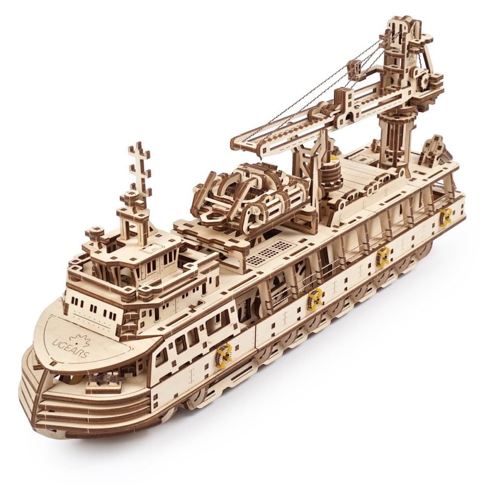 Set out for scientific adventures with the Ugears Research Vessel and the UGears Mars Buggy 1